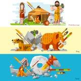 Prehistoric Stone Age Caveman Banners Stock Photos