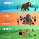 Prehistoric Stone Age Caveman Banners Royalty Free Stock Photo