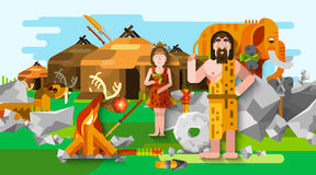 Prehistoric Stone Age Caveman Composition Royalty Free Stock Image