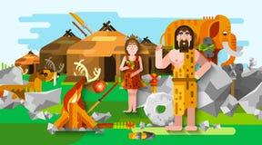 Prehistoric Stone Age Caveman Composition Royalty Free Stock Image