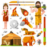 Prehistoric Stone Age Caveman Icons Royalty Free Stock Images