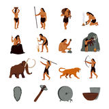 Prehistoric Stone Age Caveman Icons Royalty Free Stock Photography