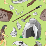 Prehistoric stone age icons set pattern. Presenting life of cavemen and their primitive tools flat  vector illustration Royalty Free Stock Photo