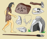 Prehistoric stone age icons set Royalty Free Stock Photos