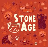 Prehistoric Stone Age vector print in cartoon style Royalty Free Stock Images
