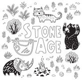 Prehistoric Stone Age vector print in cartoon style. Coloring book Royalty Free Stock Images