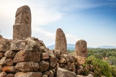 Prehistoric stone statues in Filitosa. Megalithic site in southern Corsica, France royalty free stock photos