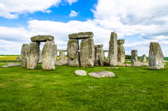 Prehistoric Stonehenge in Summer, England. Stonehenge is a prehistoric monument in Wiltshire, England, 2 miles 3 km west of Amesbury near Salisbury. It consists royalty free stock images