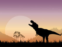 Prehistoric Tyrannosaurus Dinosaur Scene. The Silhouette of a Tyrannosaurus Rex Roaring in front of a dull moon with a starry night sky as the backdrop Stock Image