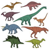 Prehistoric wild dinosaur creatures collection. Collection of prehistoric jurrasic period fauna, wild dinosaur creatures, carnivorous beast and herbivorous Royalty Free Stock Photos