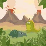 Prehistoric wildlife. Nature landscape with dinos, mountains, volcanos. Prehistoric wildlife. Nature landscape with silhouette of dinos, mountains, volcanos Stock Photo