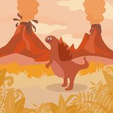 Prehistoric wildlife. Nature landscape with dinos, mountains, volcanos. Prehistoric wildlife. Nature landscape with silhouette of dinos, mountains, volcanos Stock Photos