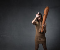 Prehistoric woman l for loser Stock Photos