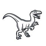 Prehistorical Dino loga pojęcie Ptak drapieżny insygni projekt Jurajska dinosaur ilustracja Koszulki pojęcie na bielu Fotografia Royalty Free