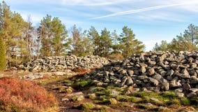 Prehistorical landmark in Tanumshede, Sweden. View of prehistorical landmark near the Tanumshede museum in Western Sweden stock image