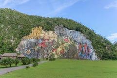 Prehistorical mural in Valle de Vinales Stock Photography