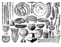 Prehistorical objects found in German tombs. Engraving reproducing artifacts, weapons,jewelry, pottery, tools found in prehistorical tombs in Germany Stock Image