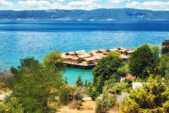 Prehistorical Palafitte Settlement Plocha Mikov Grad, Ohrid Lake. Plocha Michov Grad, Republic of Macedonia - July 25th, 2017: The Museum on Water, Plocha Michov Stock Photos