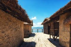 Prehistorical Palafitte Settlement Plocha Mikov Grad, Ohrid Lake. Plocha Michov Grad, Republic of Macedonia - July 25th, 2017: The Museum on Water, Plocha Michov Royalty Free Stock Photo