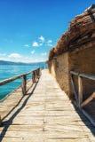 Prehistorical Palafitte Settlement Plocha Mikov Grad, Ohrid Lake. Plocha Michov Grad, Republic of Macedonia - July 25th, 2017: The Museum on Water, Plocha Michov Royalty Free Stock Image