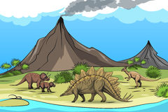 Prehistory with dinosaurs and volcano Royalty Free Stock Photography