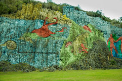 Prehistory Wall in Vinales, Cuba Stock Photo