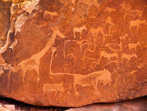 Prehistoryczni buszmenów rytownictwa przy Twyfelfontein wewnątrz Fotografia Royalty Free