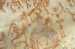 Prehistoryczny jama obraz w Bhimbetka, India -. Zdjęcie Royalty Free