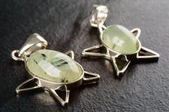 Prehnite pendants Royalty Free Stock Photo