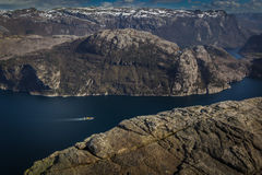 Preiekestolen - The Pulpit Rock, Norwegian Cliff Tourist Destination at Lysefjorden, Stavanger, Norway Stock Photography