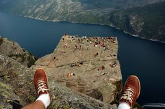 Preikestolen. Or Prekestolen, also known by the English translations of Preacher's Pulpit or Pulpit Rock is a massive cliff 604 metres above Lysefjorden. It is Stock Image