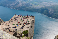 Preikestolen ad Tourists Stock Photo