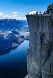 Preikestolen aka Pulpit Rock. The famous Preikestolen over lysefjord of Norway Stock Photo