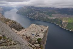 Preikestolen. Also known by the English translations of Preacher's Pulpit or Pulpit Rock, is a famous tourist attraction in Norway Stock Image