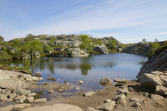 Preikestolen glaciär sjö 13 Arkivfoton