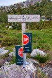 Signpost showing direction to Preikestolen, Norway royalty free stock image