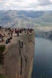 Preikestolen, Norway. Preikestolen or Prekestolen, Preacher's Pulpit or Pulpit Rock, is a famous tourist attraction in Forsand, Ryfylke, Norway Royalty Free Stock Photos