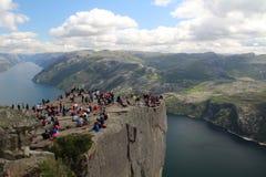 Preikestolen, Norway. Preikestolen or Prekestolen, Preacher's Pulpit or Pulpit Rock, is a famous tourist attraction in Forsand, Ryfylke, Norway Stock Image