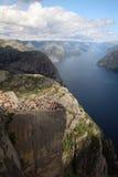 Preikestolen, Norway. Preikestolen or Prekestolen, Preacher's Pulpit or Pulpit Rock, is a famous tourist attraction in Forsand, Ryfylke, Norway Stock Images