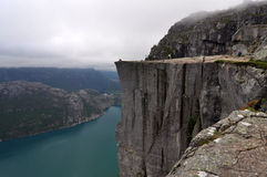Preikestolen 2. Preikestolen or Prekestolen, also known by the English translations of Preacher's Pulpit or Pulpit Rock, is a famous tourist attraction in Stock Image