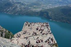 Preikestolen - Pulpit βράχος στη Νορβηγία Στοκ Φωτογραφίες
