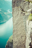 Preikestolen,Pulpit Rock at Lysefjorden (Norway). A well known t. Ourist attraction Royalty Free Stock Images