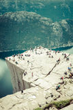 Preikestolen,Pulpit Rock at Lysefjorden (Norway). A well known t Royalty Free Stock Images