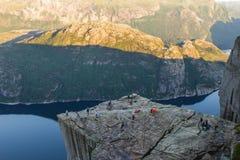 Preikestolen, ` s ambona lub ambony skała w Forsand Prekestolen lub kaznodziei, Ryfylke, Norwegia Zdjęcie Stock
