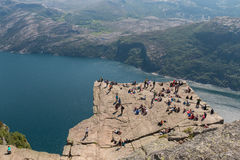 Preikestolen and Tourists 2 Royalty Free Stock Images