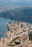Preikestolen and Tourists Stock Photos