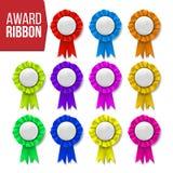 Preis-Band-Satz-Vektor Zertifikatfahne Feiertag Werbung des Ereignisses Beste Trophäe Luxusprodukt nachricht vektor abbildung