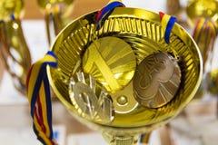 Preis und Medaillen Stockbild