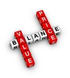 Preis-Wert-Balancen-Kreuzworträtsel Lizenzfreie Stockfotos