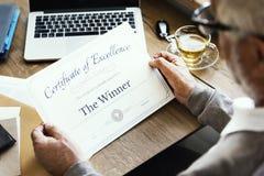 Preis-Zertifikat-Prize Dokumenten-Erfolgs-Konzept Lizenzfreies Stockfoto